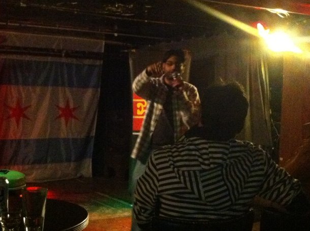 Prateek Srivastava at the Underground Lounge in Wrigleyville, one of the epicenters of Chicagmedy.