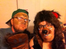The snapping turtle and the original Whiskey Bear, backstage before the QED: Tiger Style show at Six 3 collective.