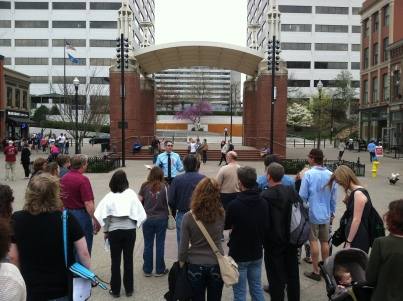 Matt kicks off the Blue Umbrella tour in Market Square in April 2015.