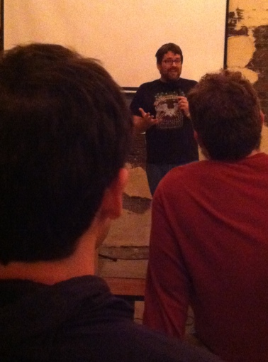 Night One: Keith Bergman (Toledo) asking the big questions at Pretentious Beer Co.