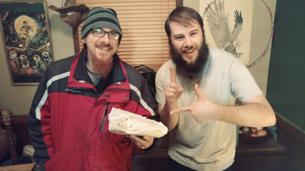 This guy bought the first loaf of bread that Sean sold on tour! (or, ever, I think).