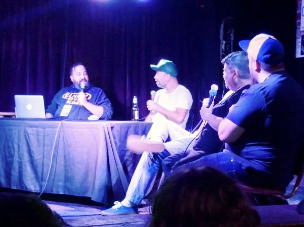 Dave Stone, Kyle Kinane, Wayne Cousins, Jenn Snyder, and Derek Sheen record 'The Boogie Monster.' I captured a unique moment of indignation between Kyle and Dave when Dave told an insane story that Kyle had never heard in two years of doing the podcast. New Brookland Tavern 9/23/18